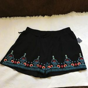 NEW Black Embroidered Shorts